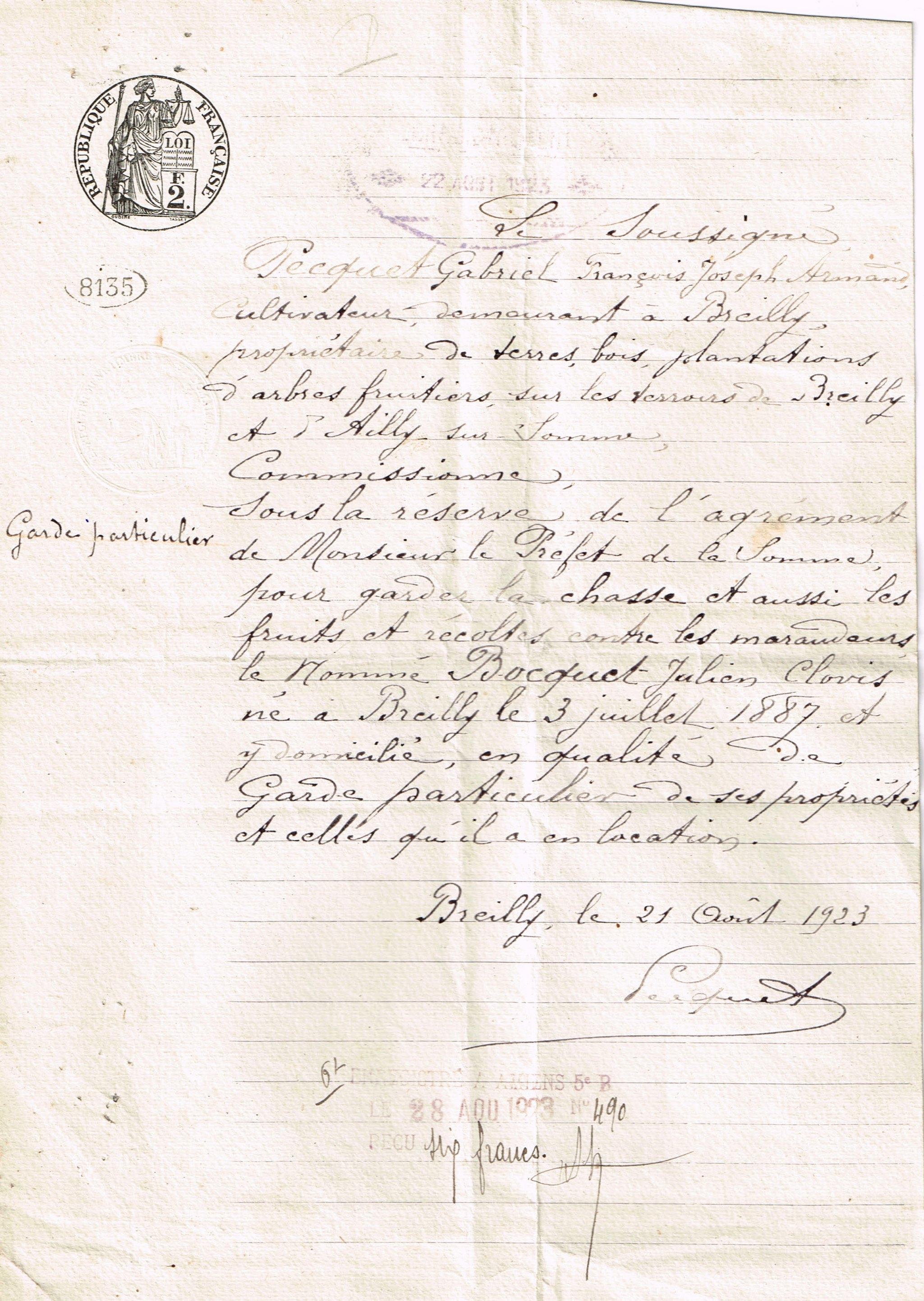 garde particulier - 23.08.1923